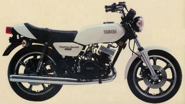 The Yamaha RD400 Daytona. Probably the ultimate in the 400 range. The heads are joined with a Ram air type cowl.